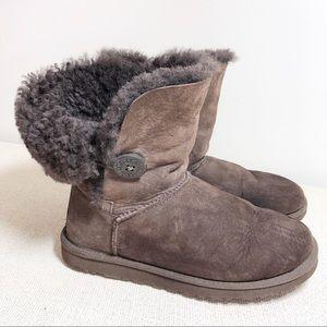 UGG Brown Bailey Button Short Boots Size 8